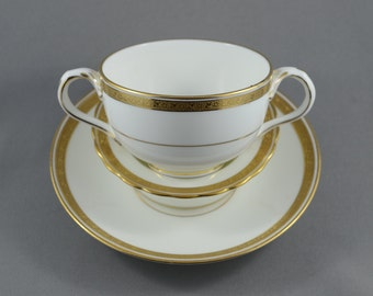 Vintage Lot of 3 Items in L2824 by Cauldon England: Flat Bouillon Cup, Saucer and more, Gold Encrusted