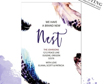 Bird Feather Moving Announcement We've Moved Nest Card New Address Card Feather New Address Announcement New Home |PHOTOSHOP FILE| # MA_3