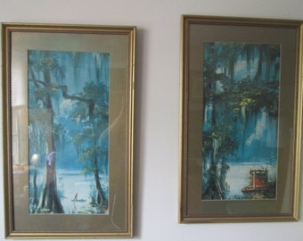 Vintage Gold Gilt Framed Louisiana Bayou Prints Trees with Moss Boats in Blue Water Pair