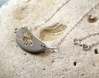 Dragonfly Necklace Beach Necklace Beach Stone Jewelry Pebble Necklace Dragon Fly Jewelry Summer Jewelry