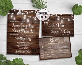 Rustic Wedding Invitation, wood wedding invitation, Jars, lights, Printable Digital file, Wedding Invitation, Invitation, wood, wooden, jar