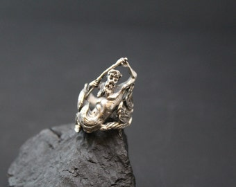 Unique Sterling Silver Poseidon Ring, Greek Mythology, Greek God, Figural Ring