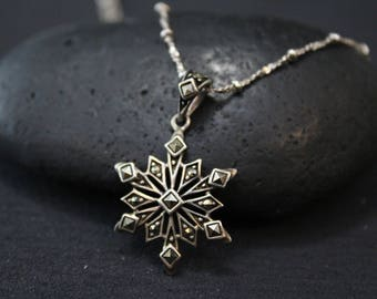Sterling Marcasite Snowflake Pendant, Sterling Silver Snowflake Necklace, Winter Jewelry, Silver Snowflake Pendant, Marcasite Necklace