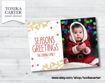 Seasons Greetings Holiday Photo Card (red and gold)