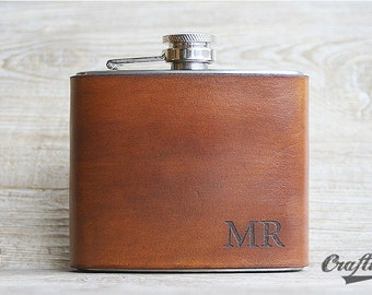 Leather Flask, Flask, Engraved Hip Flask, Liquor Flask, Monogram Flask, Custom Name Flask, Initials Flask, Custom Hip Flask, Usher Flasks