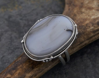 Large agate of Brazil sterling silver ring