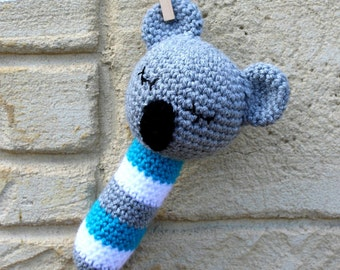 Rattle, handmade, crocheted toy koala bear rattle for babies in turquoise, white and grey