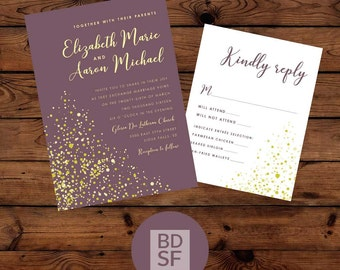 Printable Wedding Invitations // Champagne Bubbles // Chose Wording and Colors // DIY Printable Wedding Invites // Fully Customizable