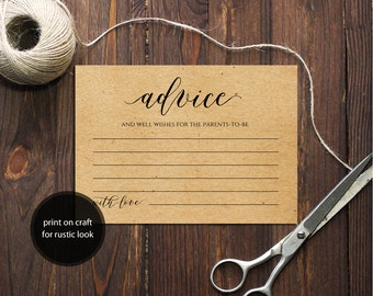 PDF Template 3,5x5 Advice for the Parents-to-be card INSTANT DOWNLOAD Advice for the new parents calligraphy Cards Printable Digital