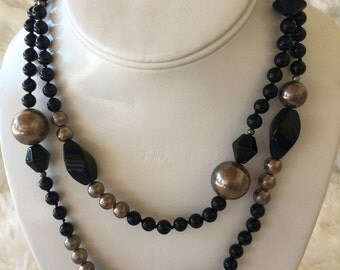 Black jet and sterling silver necklace