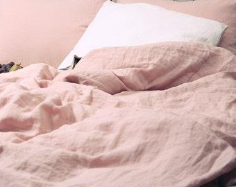 Linen duvet cover or linen pillow sham in dusty pink color. Handmade by Linen Mile
