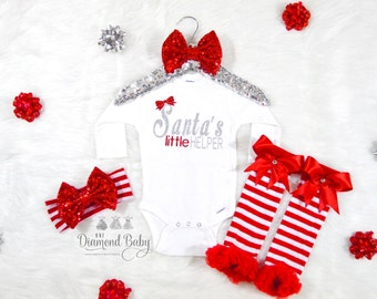 3 Piece Santa's little helper Outfit- Baby Christmas Outfit-Babys First Christmas Outfit-Santas Little Helper-Christmas Outfit-Holiday