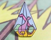 Dinosaur Pin Badge | TerROARium Pin Badge | Terrarium Pin | Pin Badge | Enamel Pin | Lapel Pin | Pastel Pin | Diamond Pin | Geometric Pin