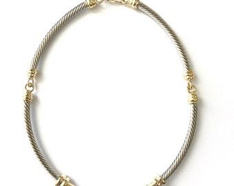 Vintage Modernist Segment Necklace with Crystal Encrusted Bar