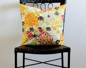 Cream Flower Decorative Pillow covers, Flower Couch Pillow Covers, Flower Decorative Throw Pillow, Flower Euro Sham, Orange, Blue, Brown
