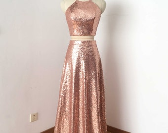 Two Piece Rose Gold Sequin Long Prom Dress 2017