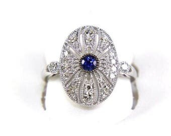 Fine Round Cut Blue Sapphire & Diamond Cluster Fashion Ring 14k White Gold .57Ct