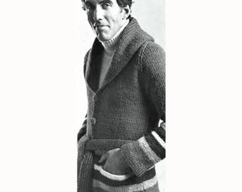 "PDF Vintage Knitting Pattern for Men's Striped Cardigan Sweater Shawl Collar 70s Man's Chest 36 to 46"" Download Bulky Yarn SKU 69-3"