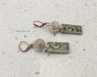 Earrings, Perfectly Imperfect, Ceramic, Copper