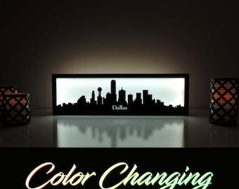 Dallas Skyline, Dallas Lightbox, Dallas Skyline Light Up Picture, Dallas Skyline Picture, Nightlight, LED Lamp, Home Decor