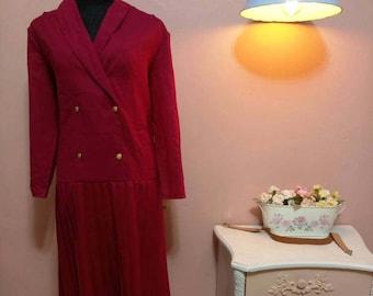Vintage Dress. 80's Dress. Bordo Dress. 1980 Dress. 1980 Womens dress. Bordo  Vintage Dress For Women 1980's Size M-L