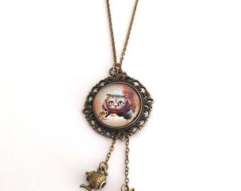 Cheshire Cat Necklace, Cheshire Cat, White Rabbit, Teapot, Alice Necklace, Cheshire Cat Jewelry