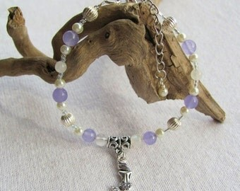 Amethyst Bracelet, Moonstone Bracelet, Crystal Bracelet, Mermaid Bracelet, Beachy Jewelry, Women's Gift, Gemstone Bracelet, Mermaid Charm