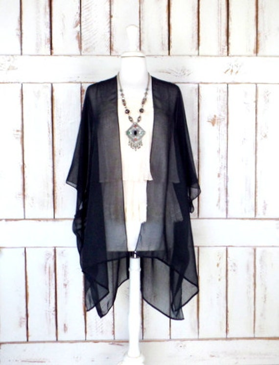 Black sheer gauzy cotton kimono cardigan/black cover up