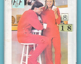 Men's Women's Footed Onesie Pajamas Sewing Pattern/ Butterick 3506 Drop Seat side button PJs Uncut Bust/ Chest 31 1/2 32 1/2 34 36 38 40