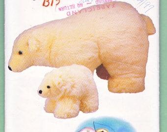 "Realistic Polar Bear Stuffed Animal Craft Pattern, Linda Carr/ Vogue 634 Realistic, Mother Baby Coke bear UnCut Sewing Pattern/ 10"" 26"""