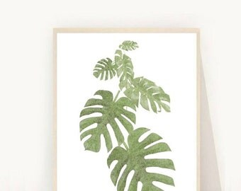 Monstera Print, Tropical Leaf Print, Monstera Art, Monstera Deliciosa, Printable Art, Palm Art Print, Botancial Print,  Instant Download