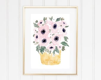 Watercolor Pink Anemones Painting, Original Flower Painting, Pink Anemones Art, Wedding Bouquet Painting, Wedding Flowers Art, Gift for Her