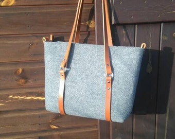 Grey felt tote bag, Felt Bag, Large Tote, For Shopping, Shopper Bag, Leather Handles, Tote Bag, Tote Felt, shoulder bag, Handbag, crossbody