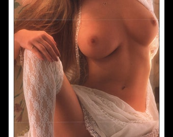 "Mature Playboy March 1989 : Playmate Centerfold Laurie Jo Wood Gatefold 3 Page Spread Photo Wall Art Decor 11"" x 23"""
