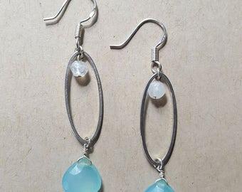 Rainbow Moonstone and Aqua Chalcedony Earrings