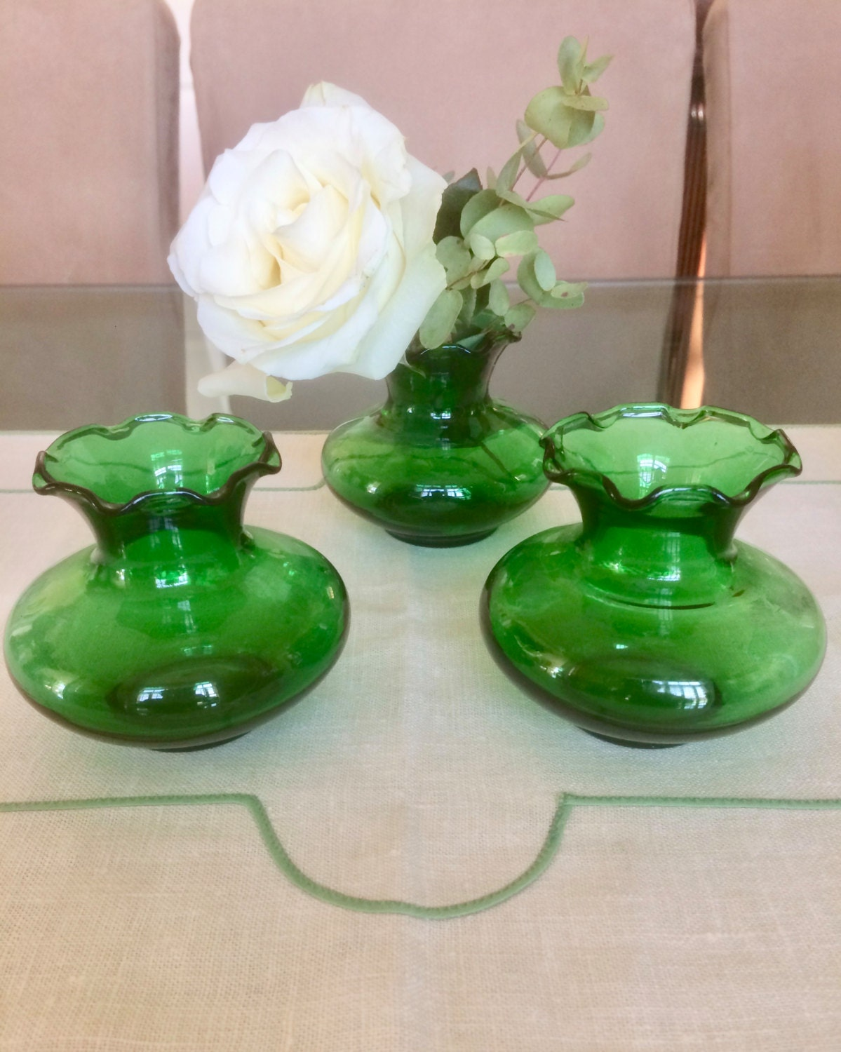 Green glass vases bud small centerpiece