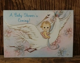 Vintage 50's 60's New Unused Set of 6 Baby Shower Invitations Deadstock Six Cards With Matching White Envelopes Baby Stork  Retro Stationery