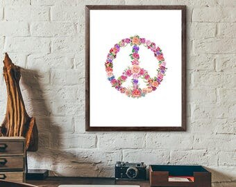 Peace Sign Wall Art peace sign wall | etsy