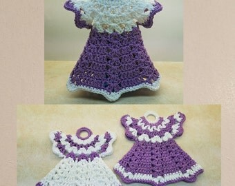 A Pair Of Vintage Crochet Dress Potholders and A Vintage Dress Dish Soap Cover Patterns. DIGITAL DOWNLOAD ONLY