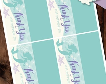 Little Mermaid Baby Shower Treat Toppers, Mermaid Treat Toppers, Little Mermaid Printables