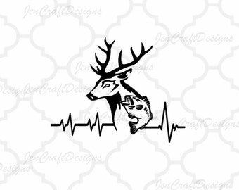 Deer Fish SVG Cutting File, Hunting Svg Heartbeat Buck Svg, Png, Eps,Dxf Files, Vector Art, Cricut DS, Silhouette Studio, Cut Files