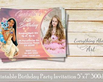Pocahontas invitation, Pocahontas birthday invitation, Princess Pocahontas birthday party, Invitation with photo Pocahontas, customized