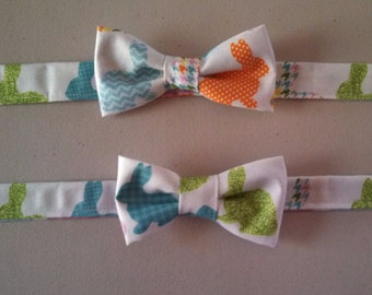 Boys Easter Bow Tie - Bunny Bow tie -Velcro bow tie