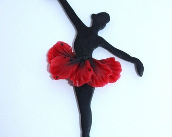 Ballerina brooch, Valentine's Day Gift, Little brooch made of polymer clay, flower Poppy brooch, Red jewelry