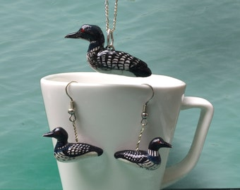 Common loon set of earrings and pendant (Gavia immer)