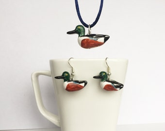 Northern shoveler set of pendant and earrings (Anas clypeata)