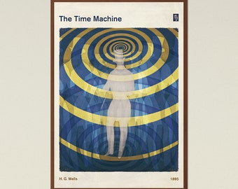 The Time Machine, H. G. Wells - Literature Book Cover Poster Large, Literary Gift, Sci Fi Art, Steampunk Decor, Instant Download