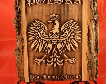 Wooden Plaque with Polish Eagle - Polski Orzeł - Bóg, Honor, Ojczyzna