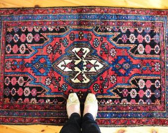 Vintage Mazlaghan Persian rug, small rug, tribal rug, bohemian rug mat, nomadic rug, CAS28