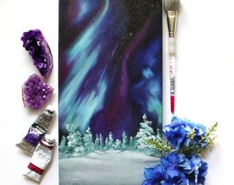 Oil Painting - Northern Lights - Space Art - Galaxy - Aurora Borealis - Winter - Snow Painting - Wall Art - Alaska - Original Art